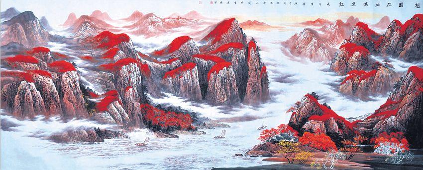 乔领在绘画创作上,以中国传统文化艺术的笔墨意蕴,精神内涵和恢弘诗境